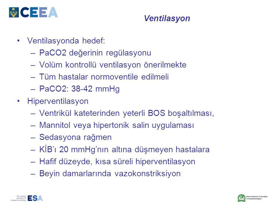 Ventilasyon Ventilasyonda hedef: –PaCO2 değerinin regülasyonu –Volüm kontrollü ventilasyon önerilmekte –Tüm hastalar normoventile edilmeli –PaCO2: 38-