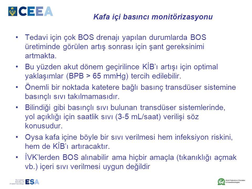 Kafa içi basıncı monitörizasyonu Tedavi için çok BOS drenajı yapılan durumlarda BOS üretiminde görülen artış sonrası için şant gereksinimi artmakta. B