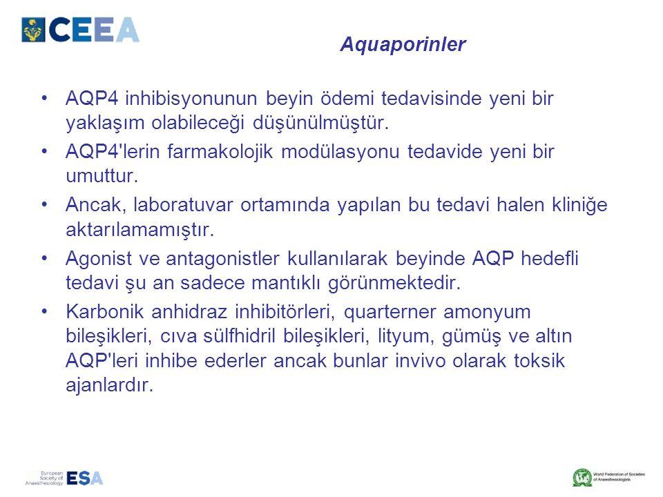 Aquaporinler AQP4 inhibisyonunun beyin ödemi tedavisinde yeni bir yaklaşım olabileceği düşünülmüştür.