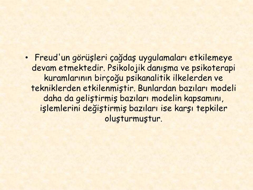 Freud un görüşleri çağdaş uygulamaları etkilemeye devam etmektedir.