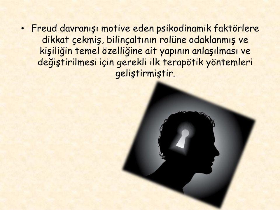 TEMEL KAVRAMLAR İNSAN DOĞASI GÖRÜŞÜ Freud un bakışı temele deterministiktir.