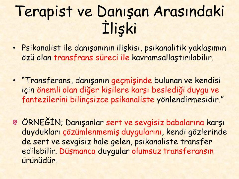 Terapist ve Danışan Arasındaki İlişki Psikanalist ile danışanının ilişkisi, psikanalitik yaklaşımın özü olan transfrans süreci ile kavramsallaştırılabilir.