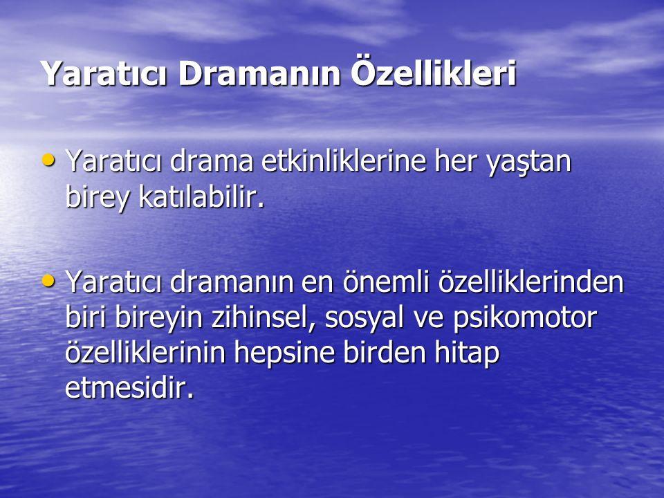 Yaratıcı Dramanın Özellikleri Yaratıcı drama etkinliklerine her yaştan birey katılabilir. Yaratıcı drama etkinliklerine her yaştan birey katılabilir.