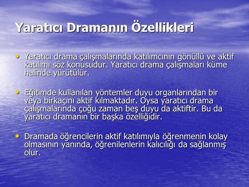 Yaratıcı Dramanın Özellikleri Yaratıcı drama çalışmalarında katılımcının gönüllü ve aktif katılımı söz konusudur. Yaratıcı drama çalışmaları küme hali