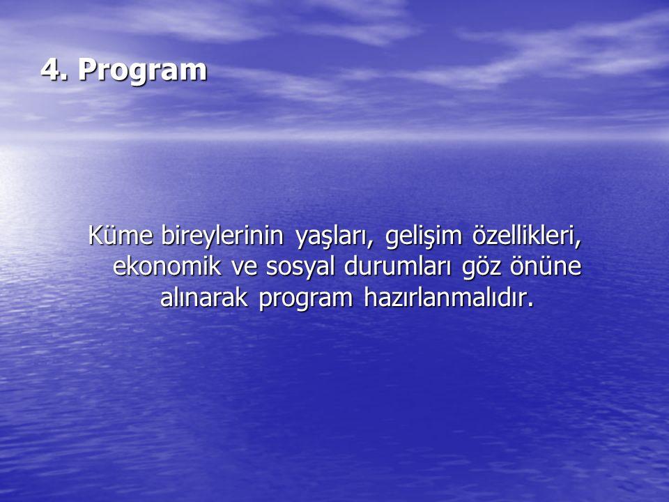 4. Program Küme bireylerinin yaşları, gelişim özellikleri, ekonomik ve sosyal durumları göz önüne alınarak program hazırlanmalıdır.
