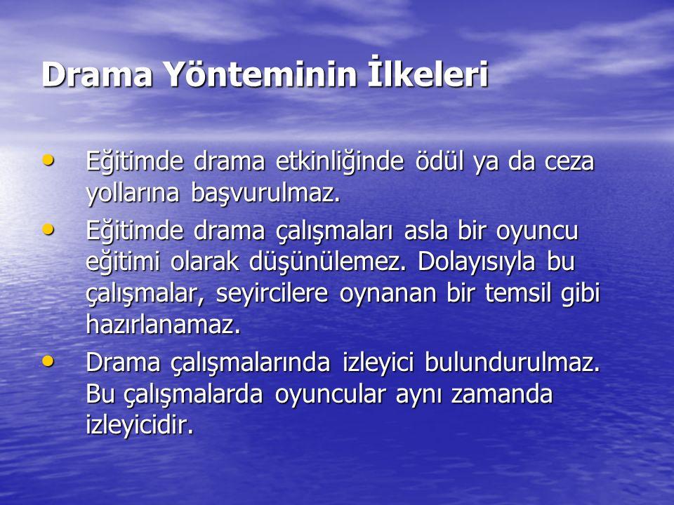 Drama Yönteminin İlkeleri Eğitimde drama etkinliğinde ödül ya da ceza yollarına başvurulmaz. Eğitimde drama etkinliğinde ödül ya da ceza yollarına baş