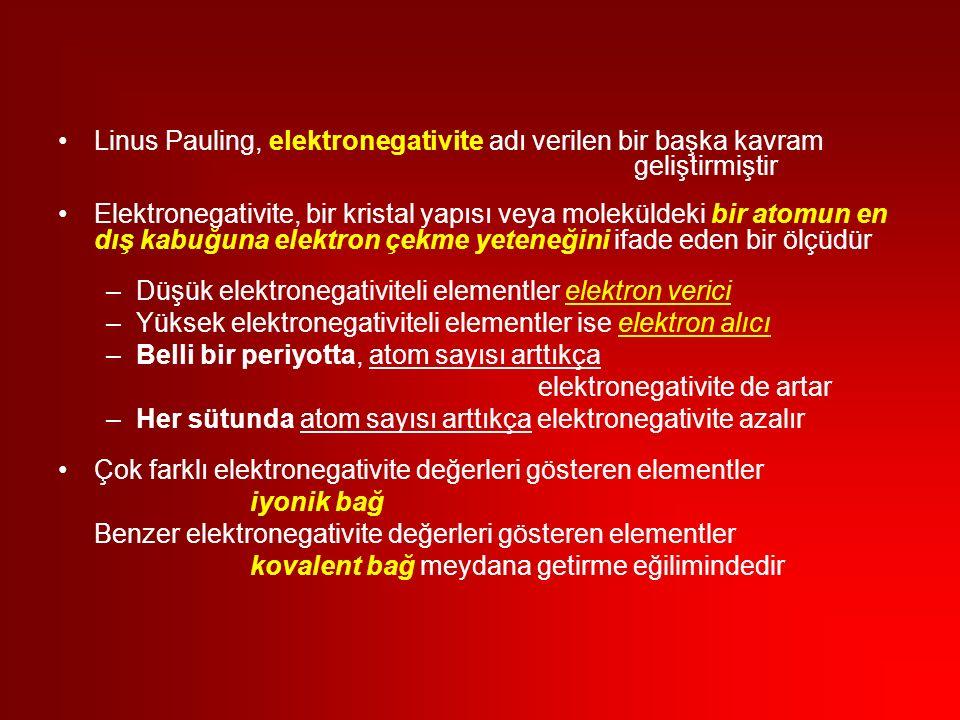 Linus Pauling, elektronegativite adı verilen bir başka kavram geliştirmiştir Elektronegativite, bir kristal yapısı veya moleküldeki bir atomun en dış kabuğuna elektron çekme yeteneğini ifade eden bir ölçüdür –Düşük elektronegativiteli elementler elektron verici –Yüksek elektronegativiteli elementler ise elektron alıcı –Belli bir periyotta, atom sayısı arttıkça elektronegativite de artar –Her sütunda atom sayısı arttıkça elektronegativite azalır Çok farklı elektronegativite değerleri gösteren elementler iyonik bağ Benzer elektronegativite değerleri gösteren elementler kovalent bağ meydana getirme eğilimindedir