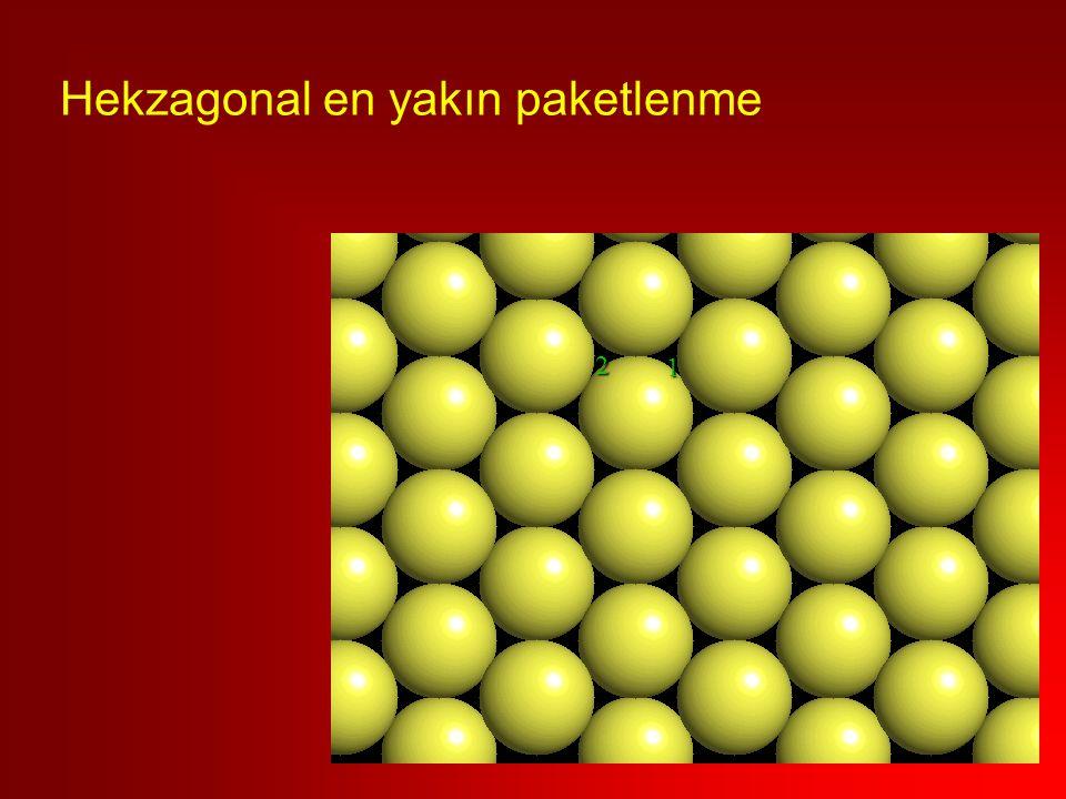 1 2 Hekzagonal en yakın paketlenme