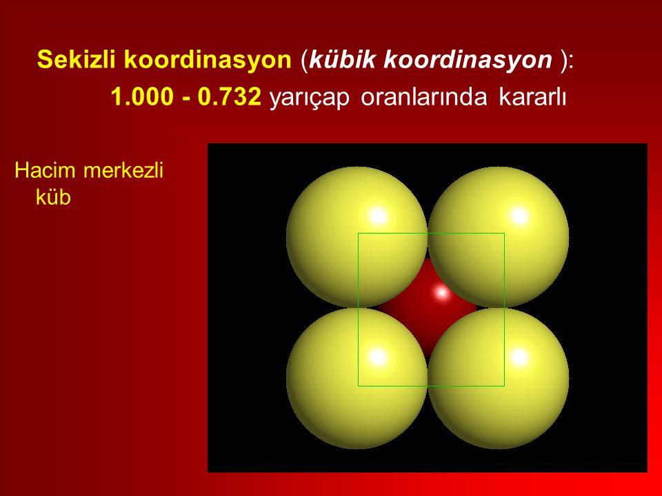 Hacim merkezli küb Sekizli koordinasyon (kübik koordinasyon ): 1.000 - 0.732 yarıçap oranlarında kararlı