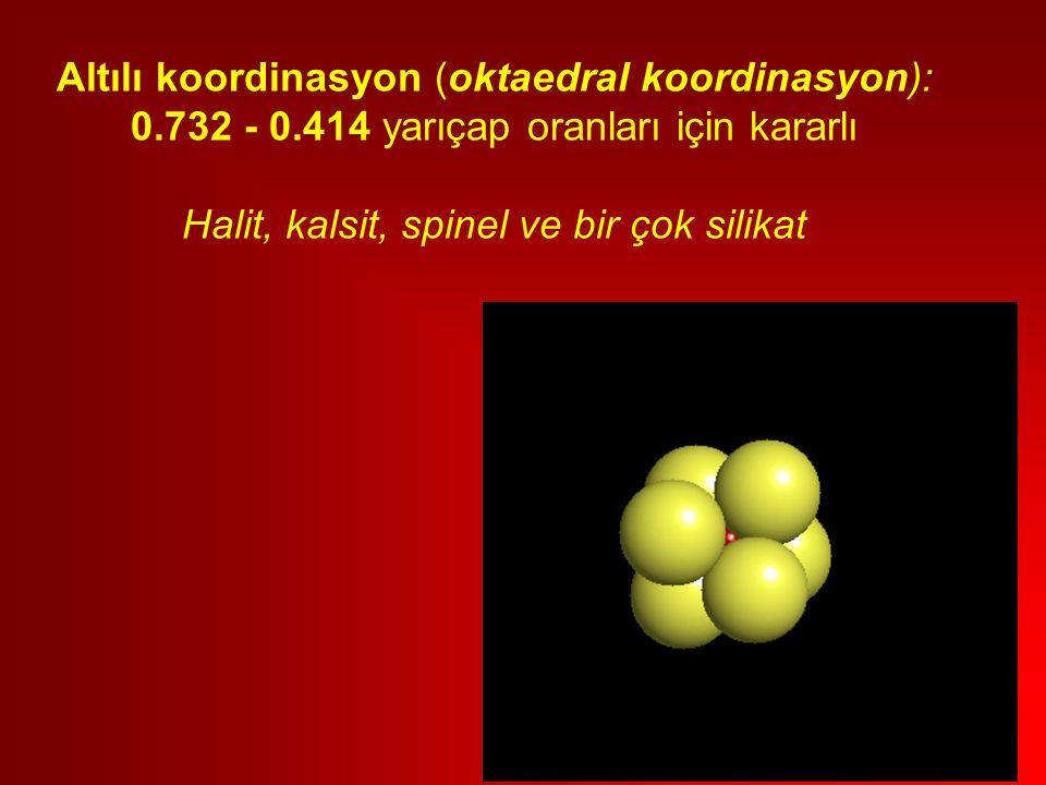 Altılı koordinasyon (oktaedral koordinasyon): 0.732 - 0.414 yarıçap oranları için kararlı Halit, kalsit, spinel ve bir çok silikat