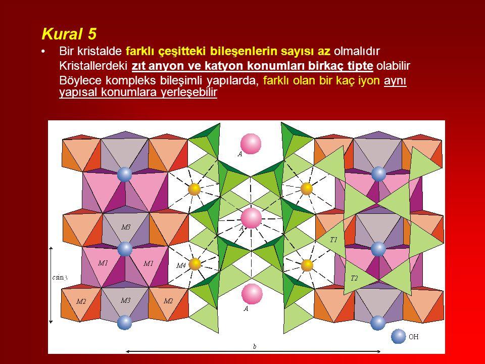 Kural 5 Bir kristalde farklı çeşitteki bileşenlerin sayısı az olmalıdır Kristallerdeki zıt anyon ve katyon konumları birkaç tipte olabilir Böylece kompleks bileşimli yapılarda, farklı olan bir kaç iyon aynı yapısal konumlara yerleşebilir