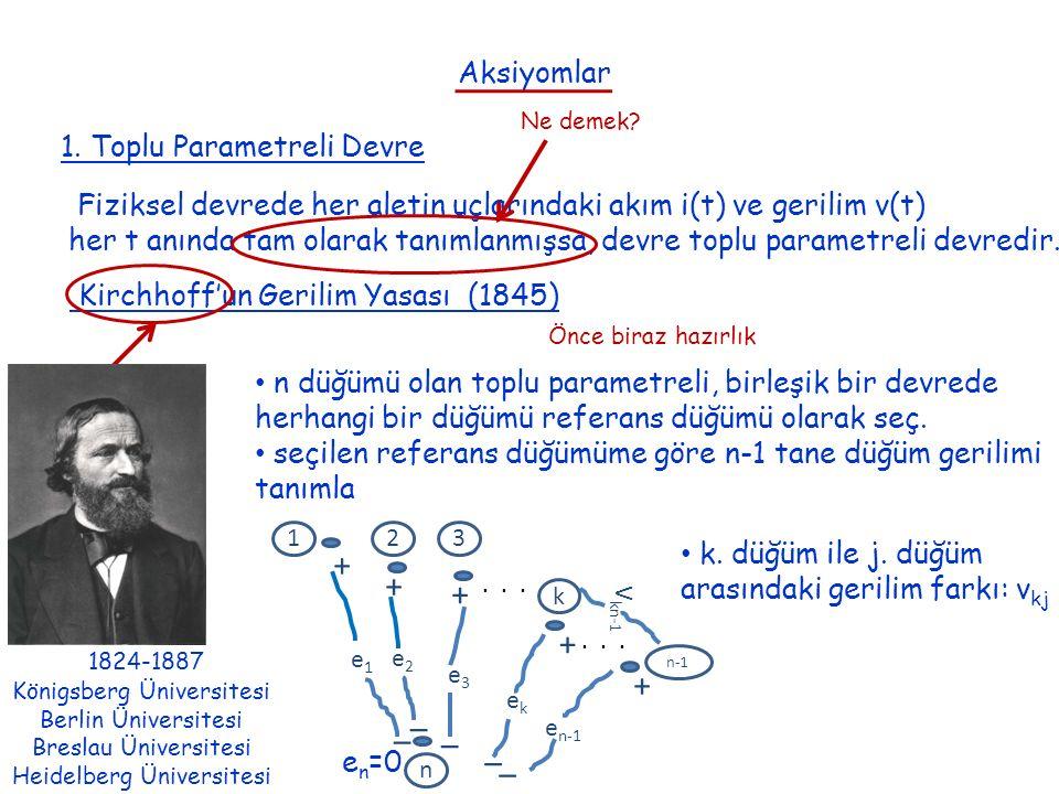 Aksiyomlar 1. Toplu Parametreli Devre Fiziksel devrede her aletin uçlarındaki akım i(t) ve gerilim v(t) her t anında tam olarak tanımlanmışsa, devre t