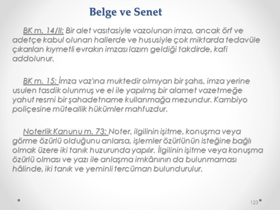 Belge ve Senet BK m.