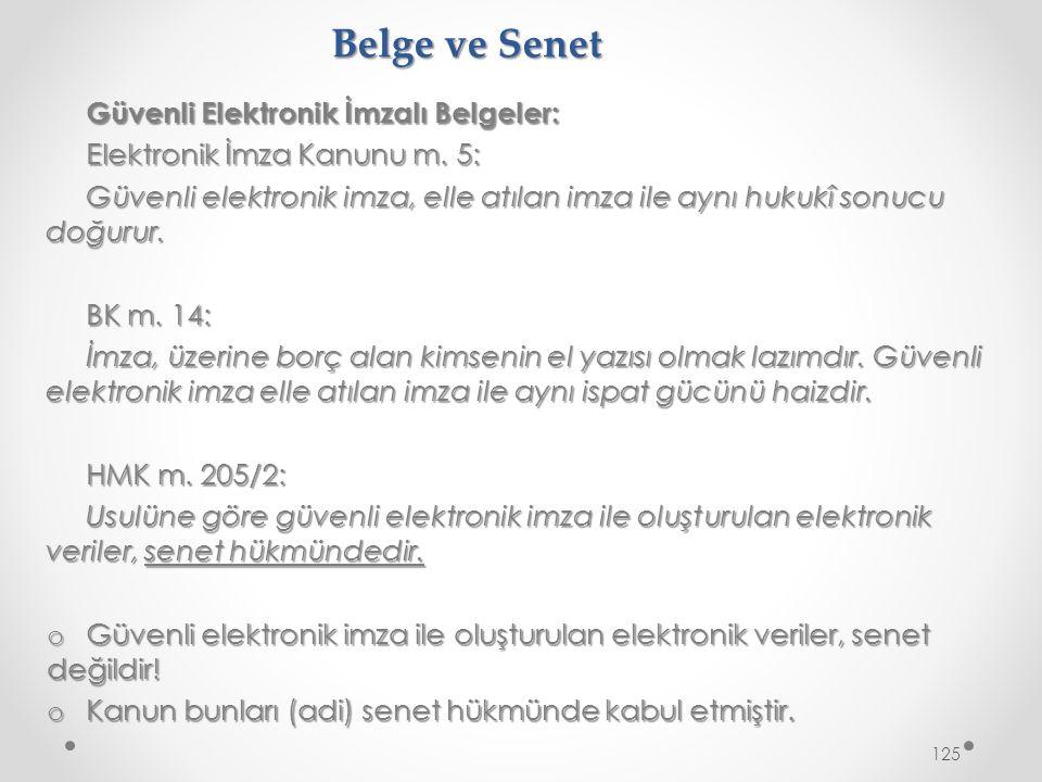 Belge ve Senet Güvenli Elektronik İmzalı Belgeler: Elektronik İmza Kanunu m.