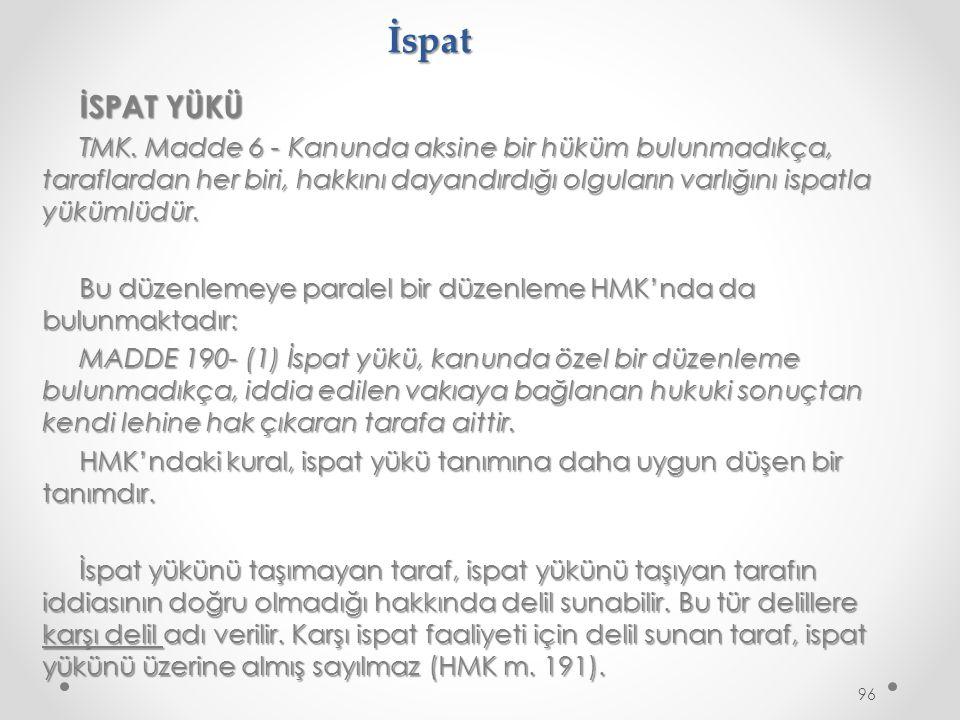 İspat İSPAT YÜKÜ TMK.