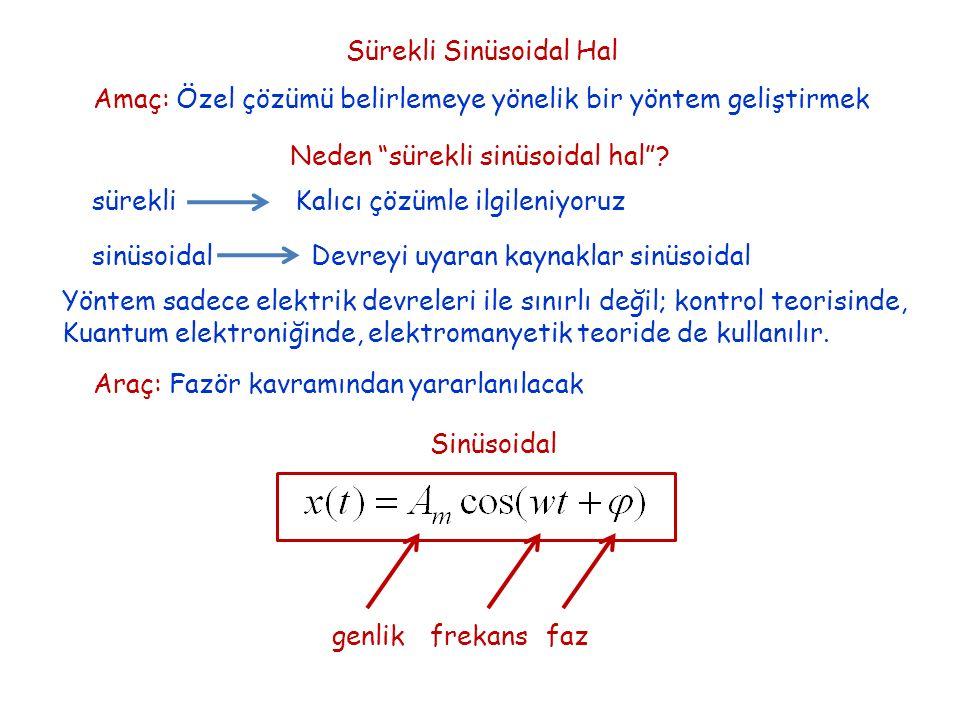Sürekli Sinüsoidal Hal Amaç: Özel çözümü belirlemeye yönelik bir yöntem geliştirmek Neden sürekli sinüsoidal hal .
