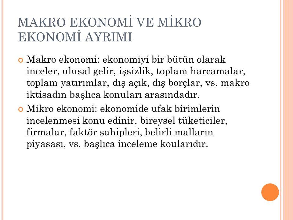 MAKRO EKONOMİ VE MİKRO EKONOMİ AYRIMI Makro ekonomi: ekonomiyi bir bütün olarak inceler, ulusal gelir, işsizlik, toplam harcamalar, toplam yatırımlar, dış açık, dış borçlar, vs.