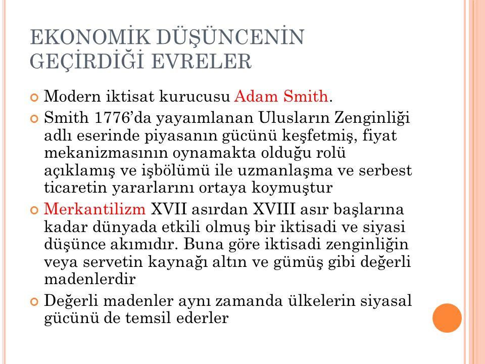 EKONOMİK DÜŞÜNCENİN GEÇİRDİĞİ EVRELER Modern iktisat kurucusu Adam Smith. Smith 1776'da yayaımlanan Ulusların Zenginliği adlı eserinde piyasanın gücün