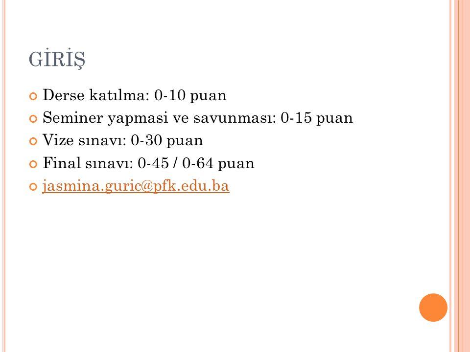 GİRİŞ Derse katılma: 0-10 puan Seminer yapmasi ve savunması: 0-15 puan Vize sınavı: 0-30 puan Final sınavı: 0-45 / 0-64 puan jasmina.guric@pfk.edu.ba