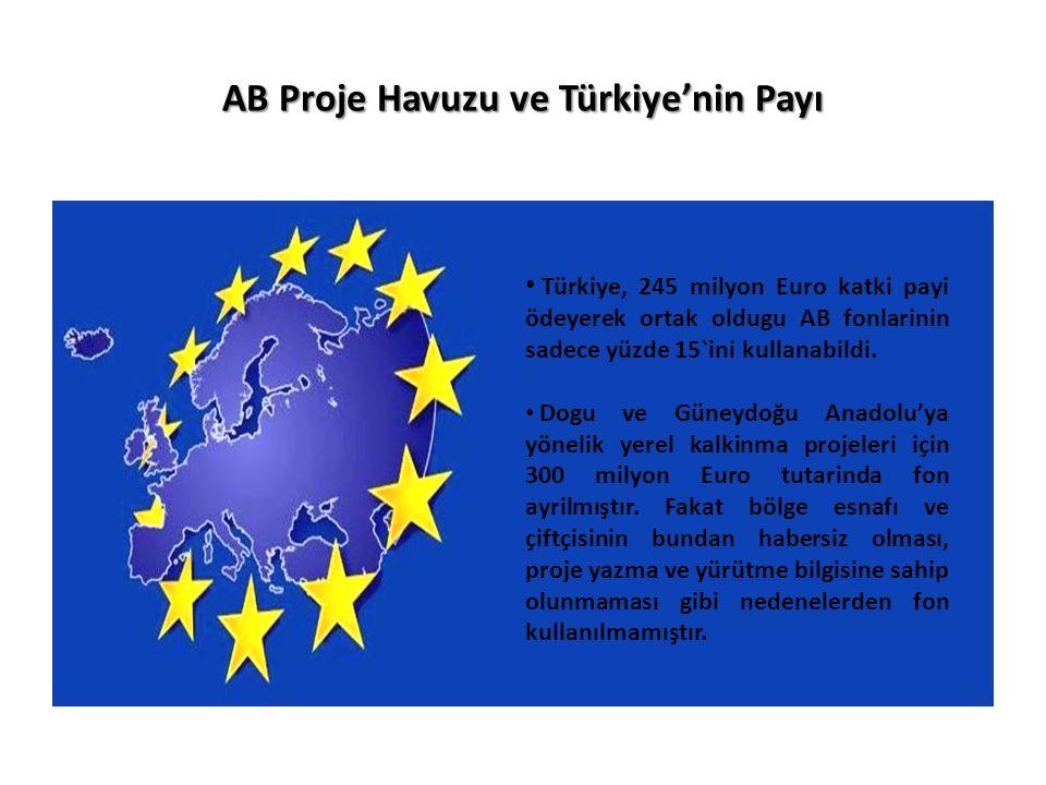 AB Proje Havuzu ve Türkiye'nin Payı Türkiye, 245 milyon Euro katki payi ödeyerek ortak oldugu AB fonlarinin sadece yüzde 15`ini kullanabildi.