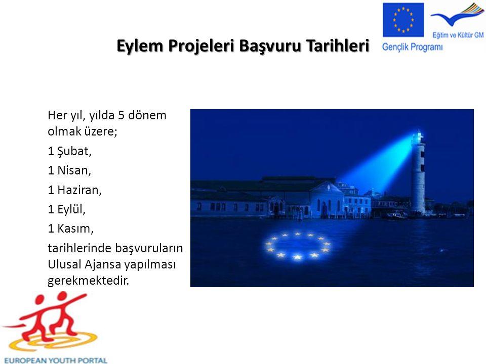 Eylem Projeleri Başvuru Tarihleri Her yıl, yılda 5 dönem olmak üzere; 1 Şubat, 1 Nisan, 1 Haziran, 1 Eylül, 1 Kasım, tarihlerinde başvuruların Ulusal Ajansa yapılması gerekmektedir.
