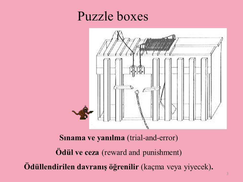 3 Puzzle boxes Sınama ve yanılma (trial-and-error) Ödül ve ceza (reward and punishment) Ödüllendirilen davranış öğrenilir (kaçma veya yiyecek).