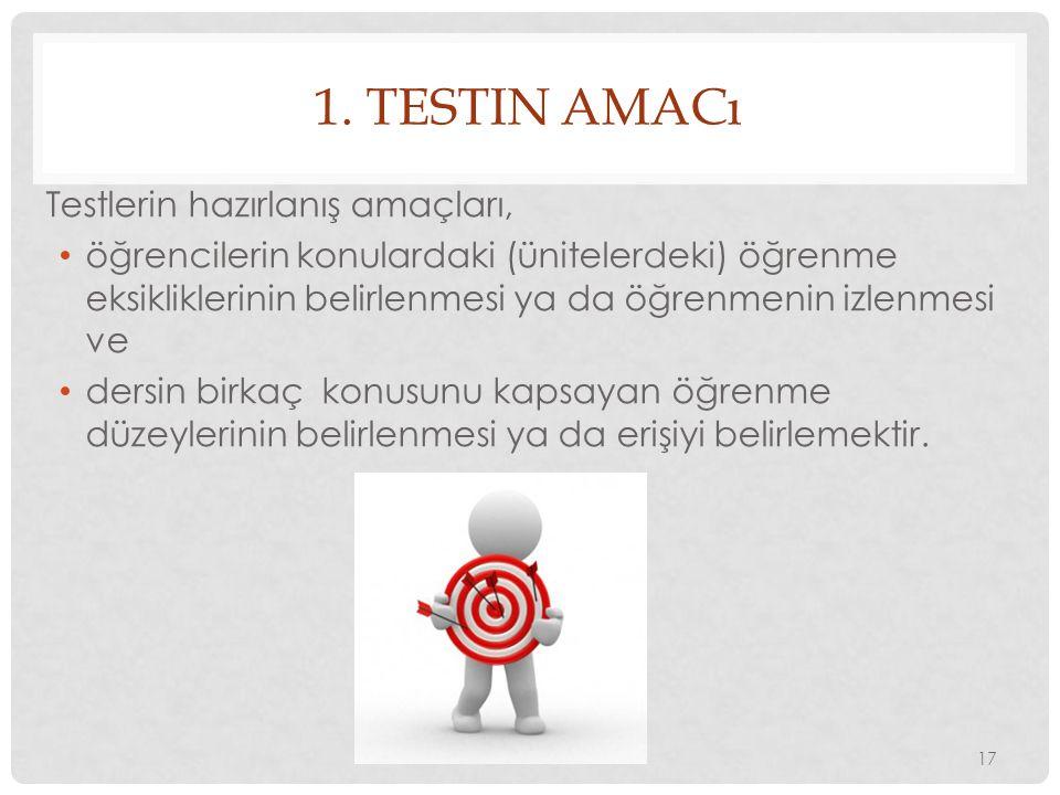 1. TESTIN AMACı Testlerin hazırlanış amaçları, öğrencilerin konulardaki (ünitelerdeki) öğrenme eksikliklerinin belirlenmesi ya da öğrenmenin izlenmesi