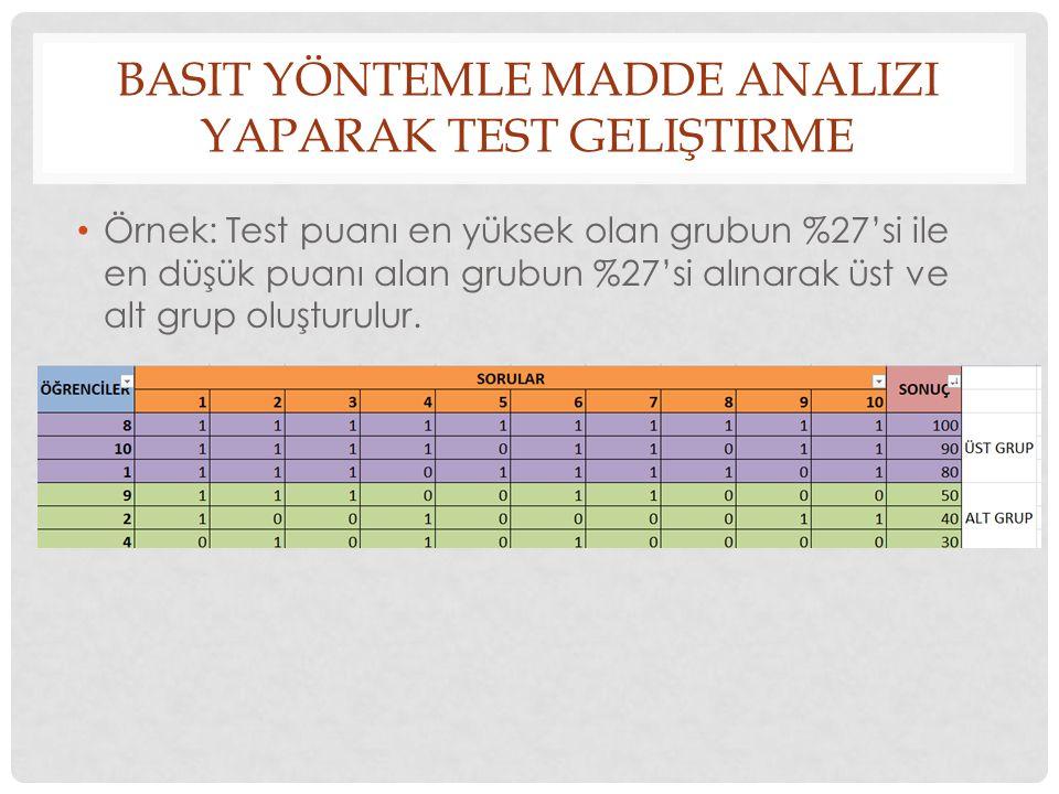 BASIT YÖNTEMLE MADDE ANALIZI YAPARAK TEST GELIŞTIRME Örnek: Test puanı en yüksek olan grubun %27'si ile en düşük puanı alan grubun %27'si alınarak üst