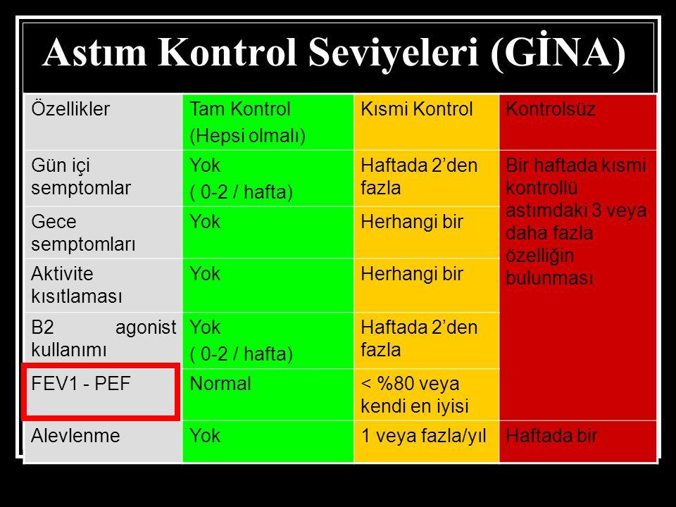 Astım Kontrol Seviyeleri (GİNA) ÖzelliklerTam Kontrol (Hepsi olmalı) Kısmi KontrolKontrolsüz Gün içi semptomlar Yok ( 0-2 / hafta) Haftada 2'den fazla Bir haftada kısmi kontrollü astımdaki 3 veya daha fazla özelliğin bulunması Gece semptomları YokHerhangi bir Aktivite kısıtlaması YokHerhangi bir B2 agonist kullanımı Yok ( 0-2 / hafta) Haftada 2'den fazla FEV1 - PEFNormal< %80 veya kendi en iyisi AlevlenmeYok1 veya fazla/yılHaftada bir