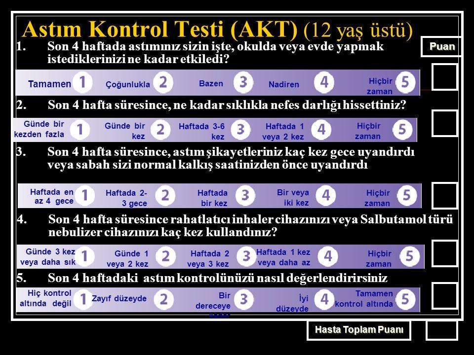 Astım Kontrol Testi (AKT) (12 yaş üstü) 1.Son 4 haftada astımınız sizin işte, okulda veya evde yapmak istediklerinizi ne kadar etkiledi.