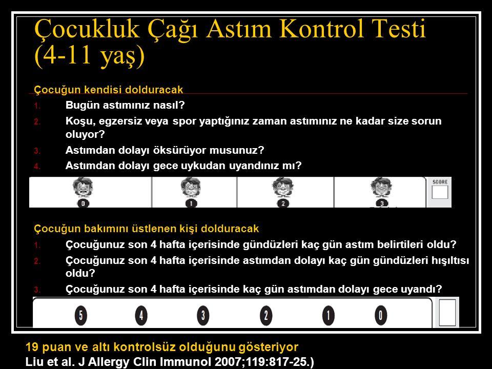 Çocukluk Çağı Astım Kontrol Testi (4-11 yaş) Çocuğun kendisi dolduracak 1.