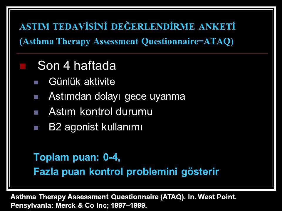 ASTIM TEDAVİSİNİ DEĞERLENDİRME ANKETİ (Asthma Therapy Assessment Questionnaire=ATAQ) Son 4 haftada Günlük aktivite Astımdan dolayı gece uyanma Astım kontrol durumu B2 agonist kullanımı Toplam puan: 0-4, Fazla puan kontrol problemini gösterir Asthma Therapy Assessment Questionnaire (ATAQ).