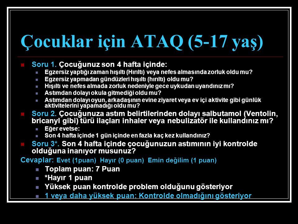 Çocuklar için ATAQ (5-17 yaş) Soru 1.