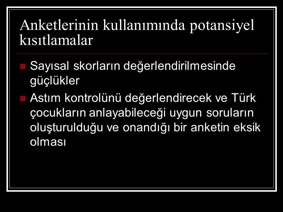 Anketlerinin kullanımında potansiyel kısıtlamalar Sayısal skorların değerlendirilmesinde güçlükler Astım kontrolünü değerlendirecek ve Türk çocukların anlayabileceği uygun soruların oluşturulduğu ve onandığı bir anketin eksik olması