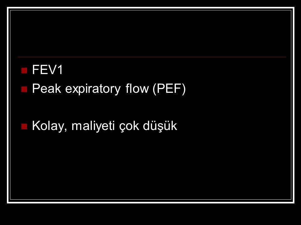 FEV1 Peak expiratory flow (PEF) Kolay, maliyeti çok düşük