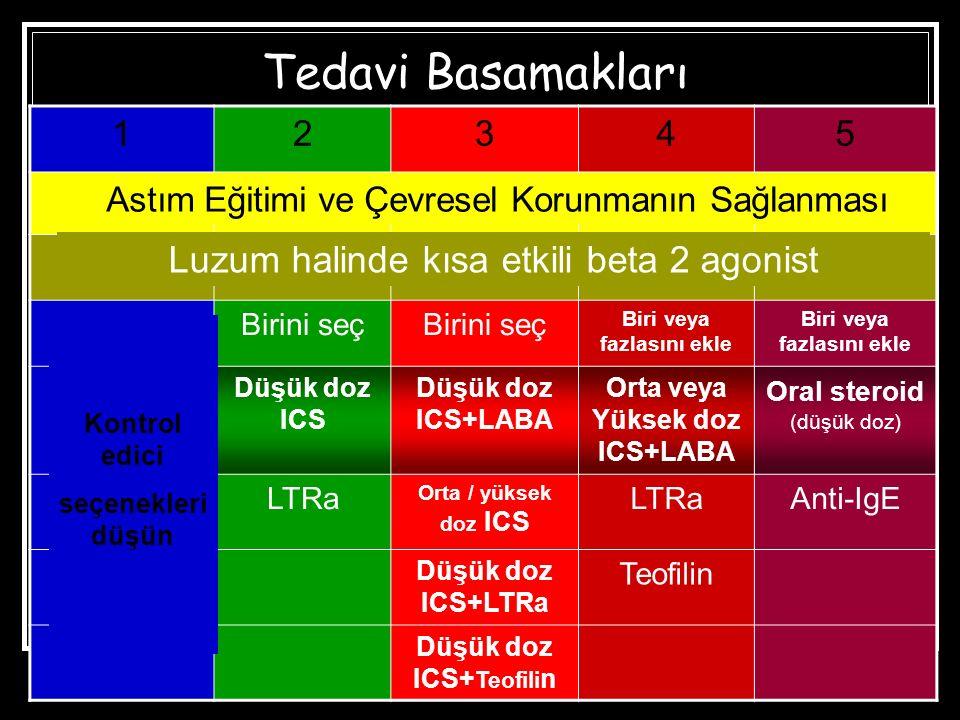 Tedavi Basamakları 12345 Birini seç Biri veya fazlasını ekle Düşük doz ICS Düşük doz ICS+LABA Orta veya Yüksek doz ICS+LABA Oral steroid (düşük doz) LTRa Orta / yüksek doz ICS LTRaAnti-IgE Düşük doz ICS+LTRa Teofilin Düşük doz ICS+ Teofili n Astım Eğitimi ve Çevresel Korunmanın Sağlanması Luzum halinde kısa etkili beta 2 agonist Kontrol edici seçenekleri düşün