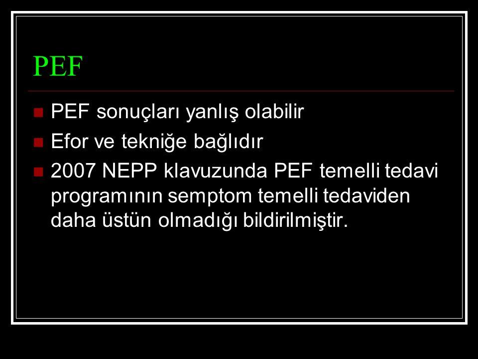 PEF PEF sonuçları yanlış olabilir Efor ve tekniğe bağlıdır 2007 NEPP klavuzunda PEF temelli tedavi programının semptom temelli tedaviden daha üstün olmadığı bildirilmiştir.