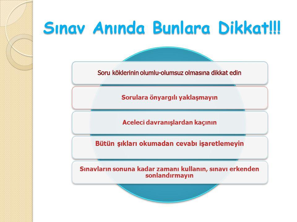 Sınav Anında Bunlara Dikkat!!.