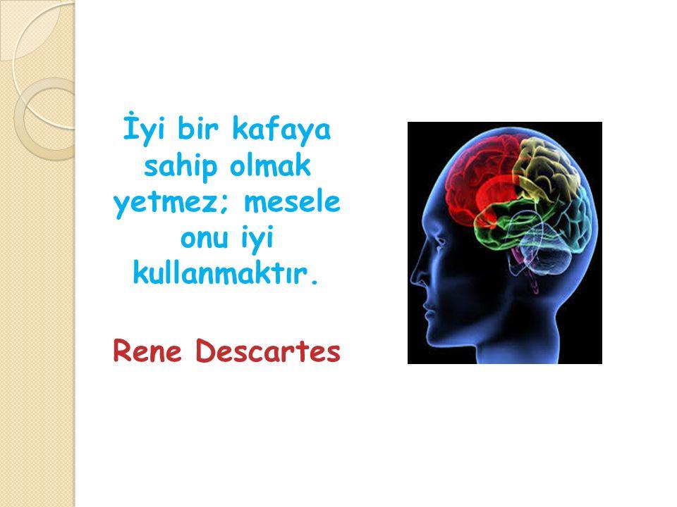 İyi bir kafaya sahip olmak yetmez; mesele onu iyi kullanmaktır. Rene Descartes