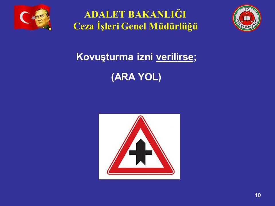 ADALET BAKANLIĞI Ceza İşleri Genel Müdürlüğü 10 Kovuşturma izni verilirse; (ARA YOL)
