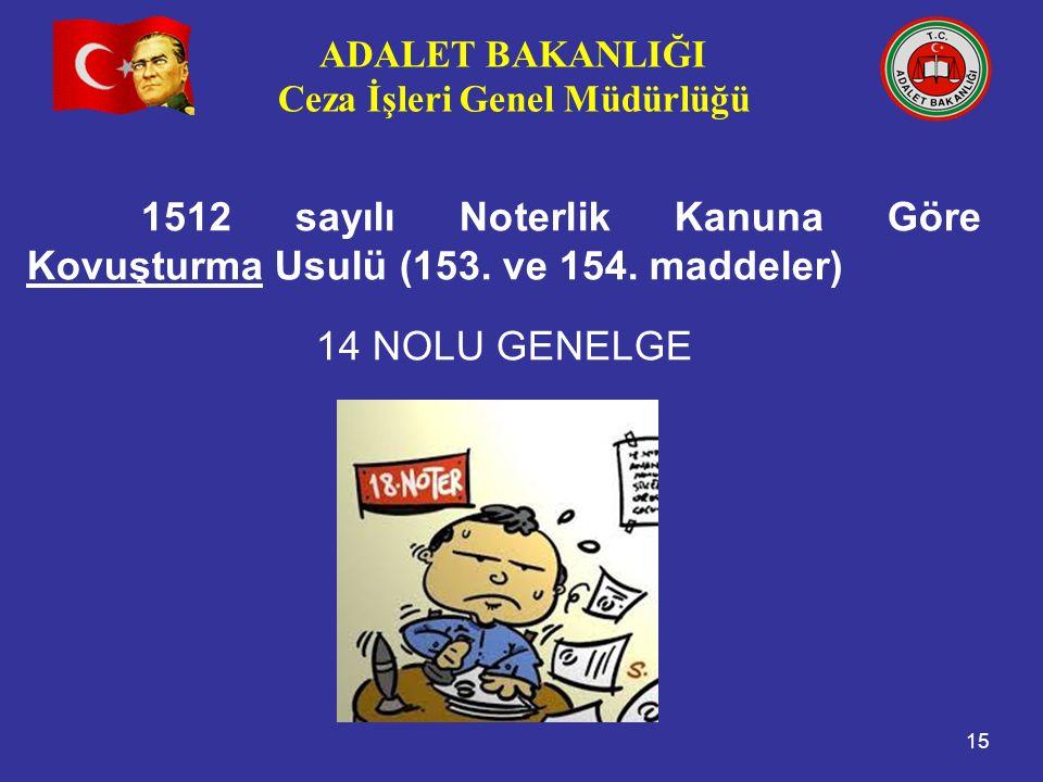 ADALET BAKANLIĞI Ceza İşleri Genel Müdürlüğü 15 1512 sayılı Noterlik Kanuna Göre Kovuşturma Usulü (153. ve 154. maddeler) 14 NOLU GENELGE
