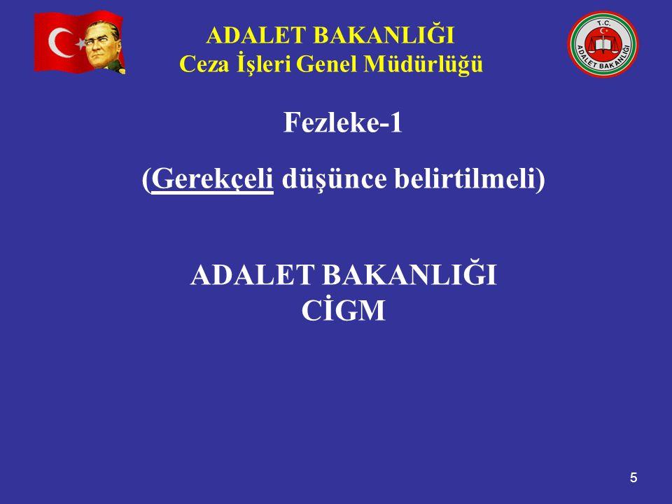 ADALET BAKANLIĞI Ceza İşleri Genel Müdürlüğü 5 Fezleke-1 (Gerekçeli düşünce belirtilmeli) ADALET BAKANLIĞI CİGM