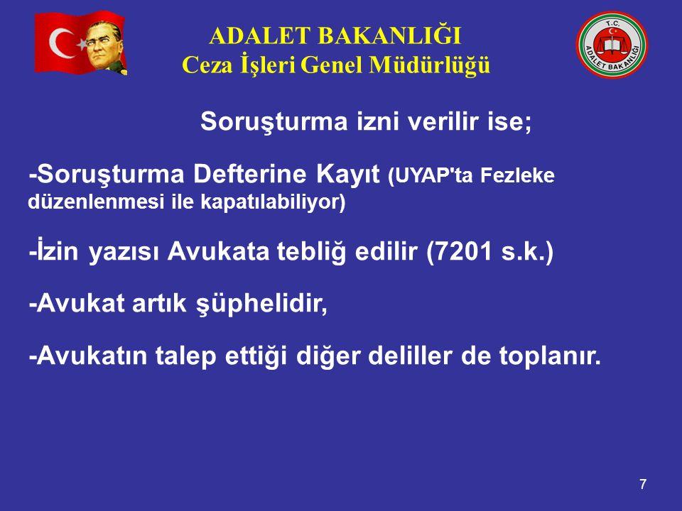 ADALET BAKANLIĞI Ceza İşleri Genel Müdürlüğü 7 Soruşturma izni verilir ise; -Soruşturma Defterine Kayıt (UYAP'ta Fezleke düzenlenmesi ile kapatılabili