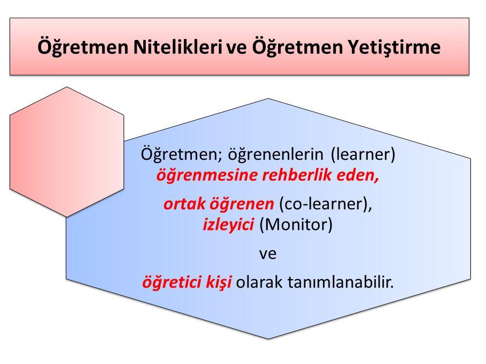 Öğretmen Nitelikleri ve Öğretmen Yetiştirme Öğretmen; öğrenenlerin (learner) öğrenmesine rehberlik eden, ortak öğrenen (co-learner), izleyici (Monitor