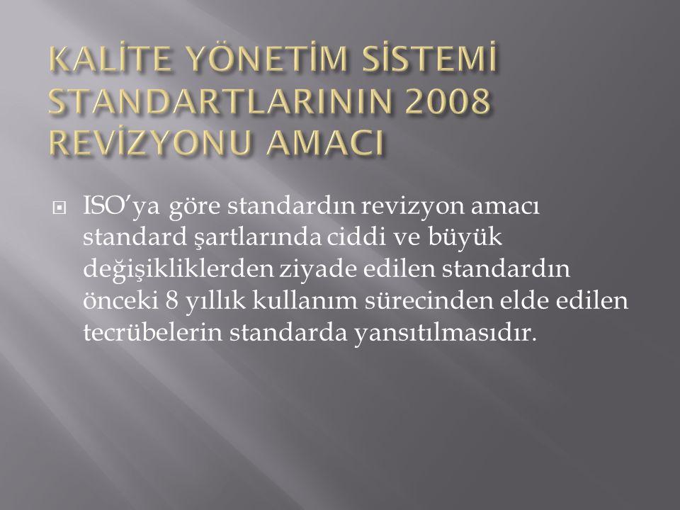  ISO'ya göre standardın revizyon amacı standard şartlarında ciddi ve büyük değişikliklerden ziyade edilen standardın önceki 8 yıllık kullanım sürecin