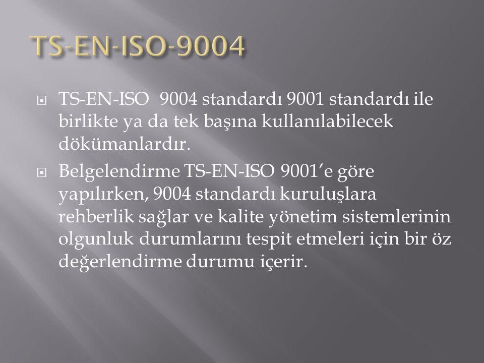  TS-EN-ISO 9004 standardı 9001 standardı ile birlikte ya da tek başına kullanılabilecek dökümanlardır.  Belgelendirme TS-EN-ISO 9001'e göre yapılırk
