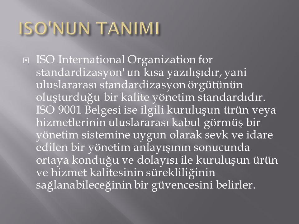  ISO International Organization for standardizasyon' un kısa yazılışıdır, yani uluslararası standardizasyon örgütünün oluşturduğu bir kalite yönetim