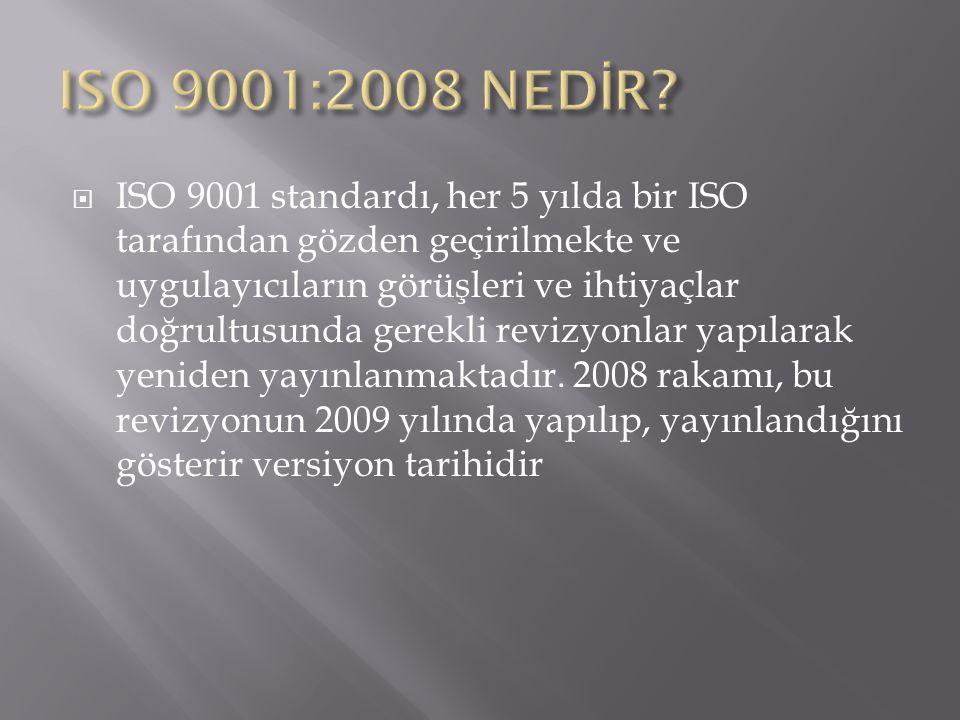 ISO'ya göre standardın revizyon amacı standard şartlarında ciddi ve büyük değişikliklerden ziyade edilen standardın önceki 8 yıllık kullanım sürecinden elde edilen tecrübelerin standarda yansıtılmasıdır.