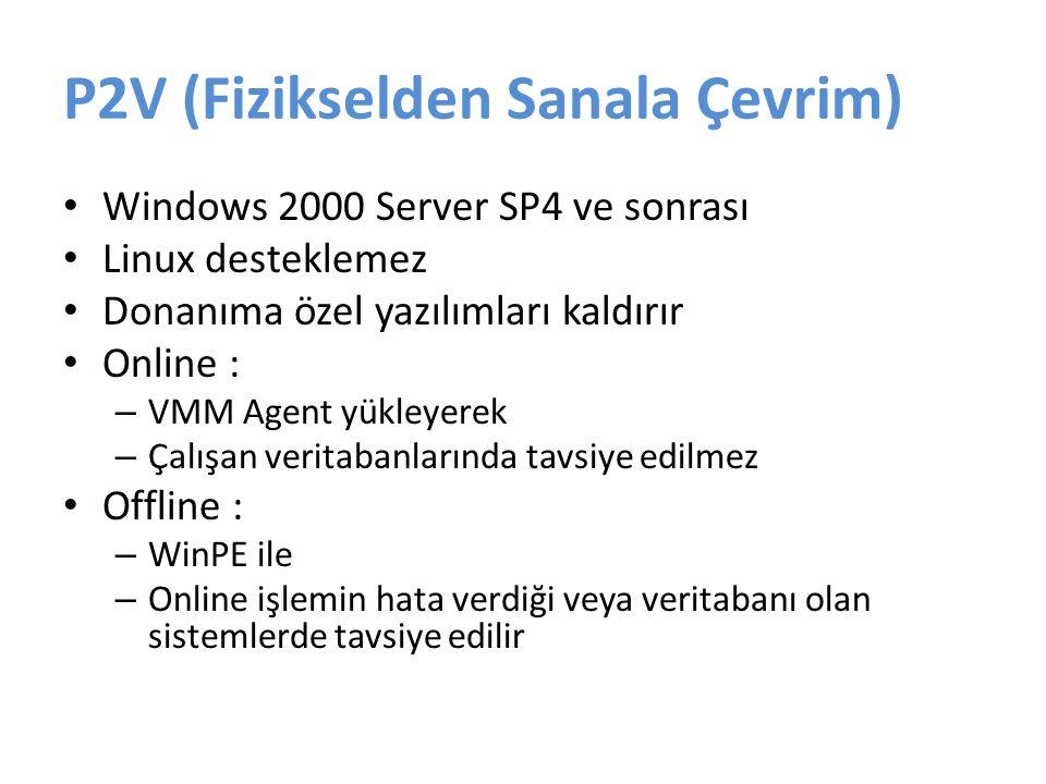 P2V (Fizikselden Sanala Çevrim) Windows 2000 Server SP4 ve sonrası Linux desteklemez Donanıma özel yazılımları kaldırır Online : – VMM Agent yükleyerek – Çalışan veritabanlarında tavsiye edilmez Offline : – WinPE ile – Online işlemin hata verdiği veya veritabanı olan sistemlerde tavsiye edilir