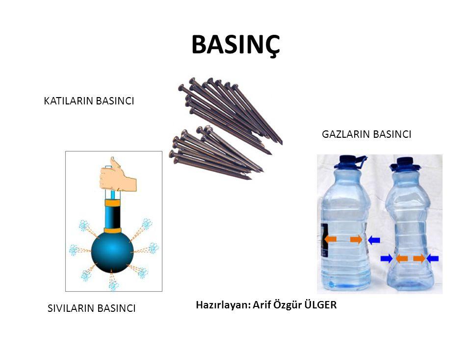 GAZLARIN BASINCI Gazların basıncı; kabın hacmine, sıcaklığa ve gaz miktarına bağlı olarak değişir.